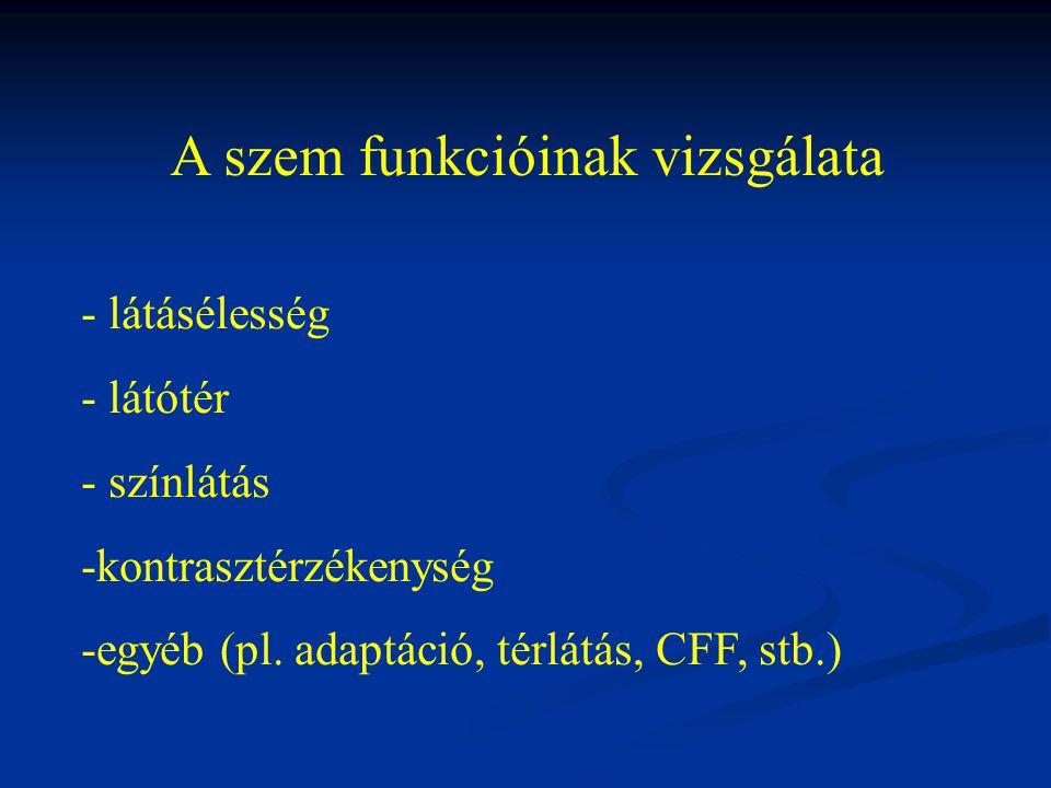 A szem funkcióinak vizsgálata - látásélesség - látótér - színlátás -kontrasztérzékenység -egyéb (pl. adaptáció, térlátás, CFF, stb.)