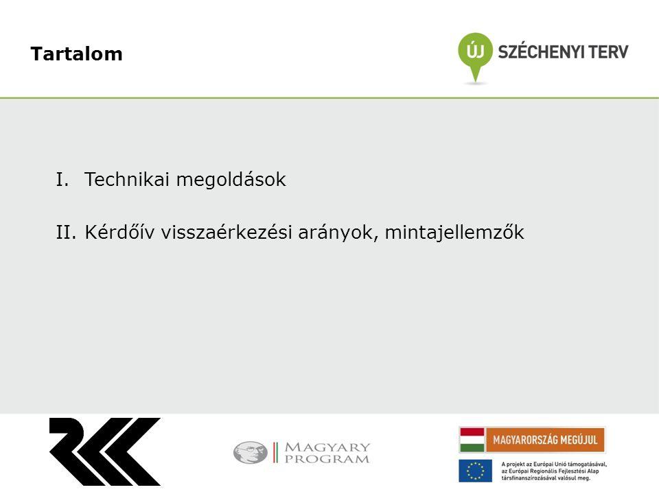 I.Technikai megoldások II.Kérdőív visszaérkezési arányok, mintajellemzők Tartalom