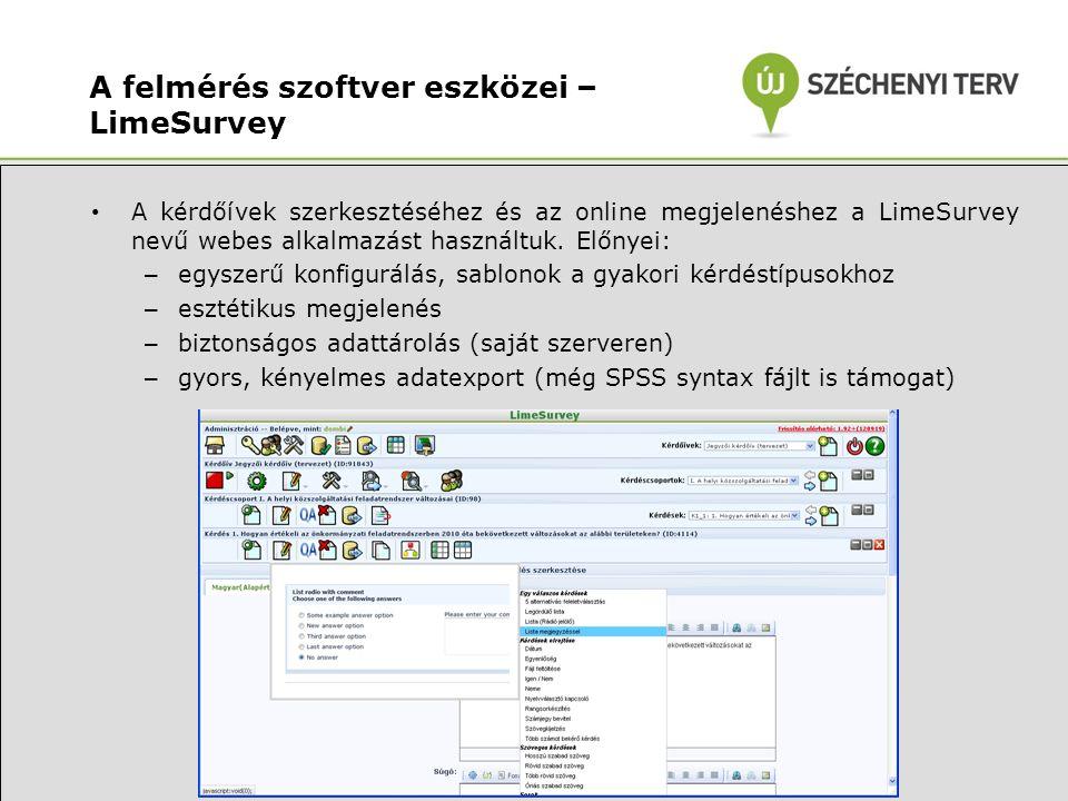 A felmérés szoftver eszközei – LimeSurvey • A kérdőívek szerkesztéséhez és az online megjelenéshez a LimeSurvey nevű webes alkalmazást használtuk.