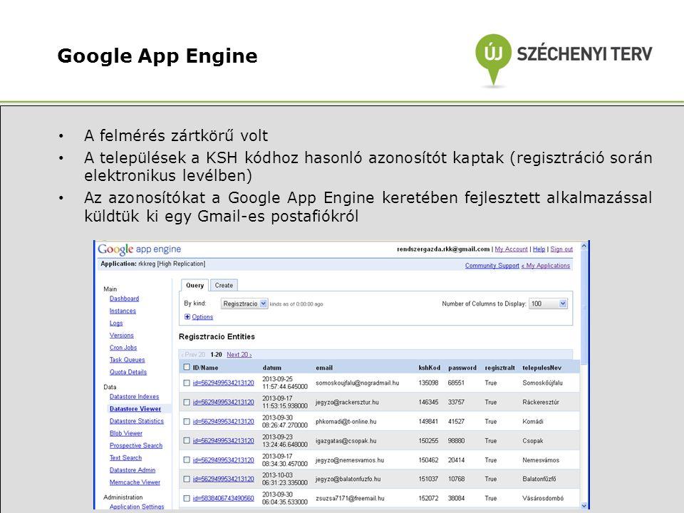 Google App Engine • A felmérés zártkörű volt • A települések a KSH kódhoz hasonló azonosítót kaptak (regisztráció során elektronikus levélben) • Az azonosítókat a Google App Engine keretében fejlesztett alkalmazással küldtük ki egy Gmail-es postafiókról