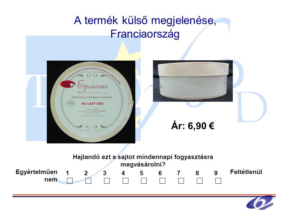 A termék külső megjelenése, Franciaország Hajlandó ezt a sajtot mindennapi fogyasztásra megvásárolni.