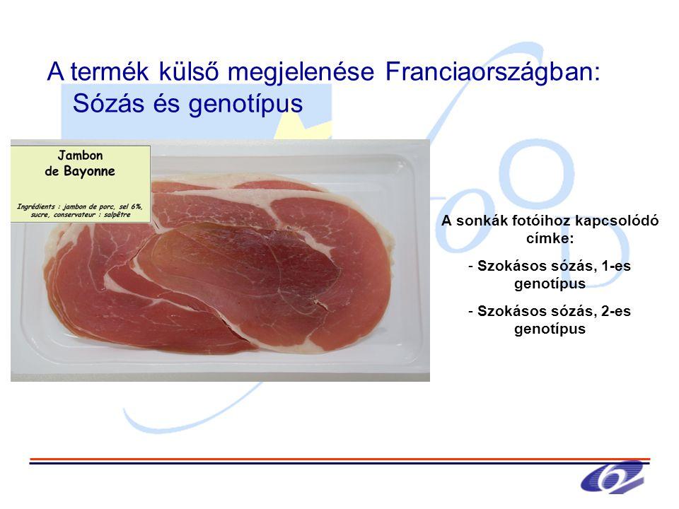 A sonkák fotóihoz kapcsolódó címke: - Szokásos sózás, 1-es genotípus - Szokásos sózás, 2-es genotípus A termék külső megjelenése Franciaországban: Sózás és genotípus