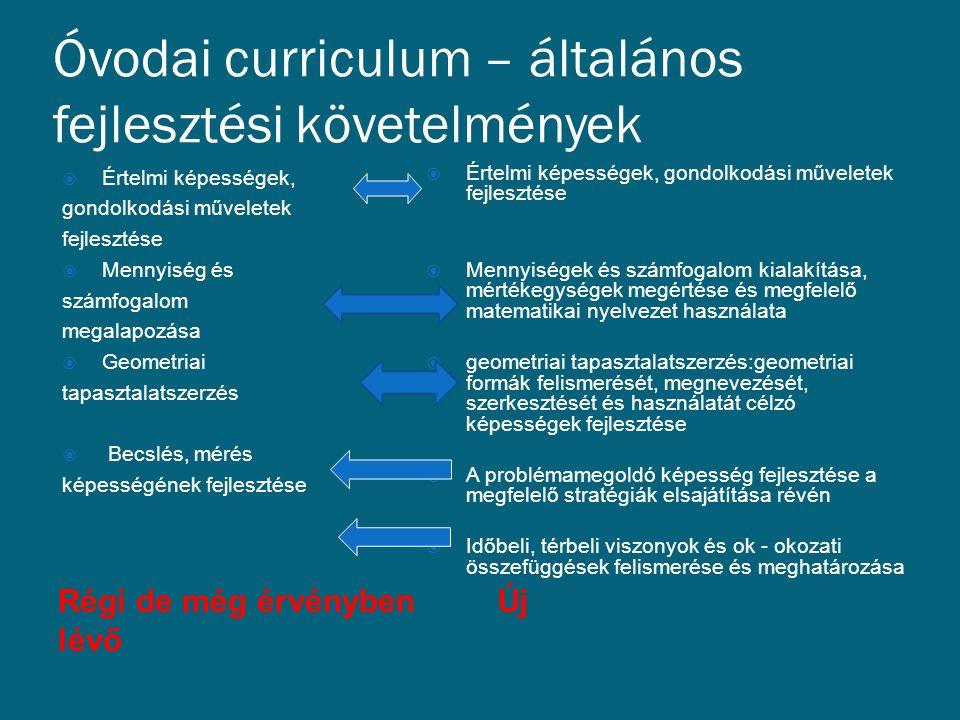 Óvodai curriculum – általános fejlesztési követelmények Régi de még érvényben lévő Új  Értelmi képességek, gondolkodási műveletek fejlesztése  Menny