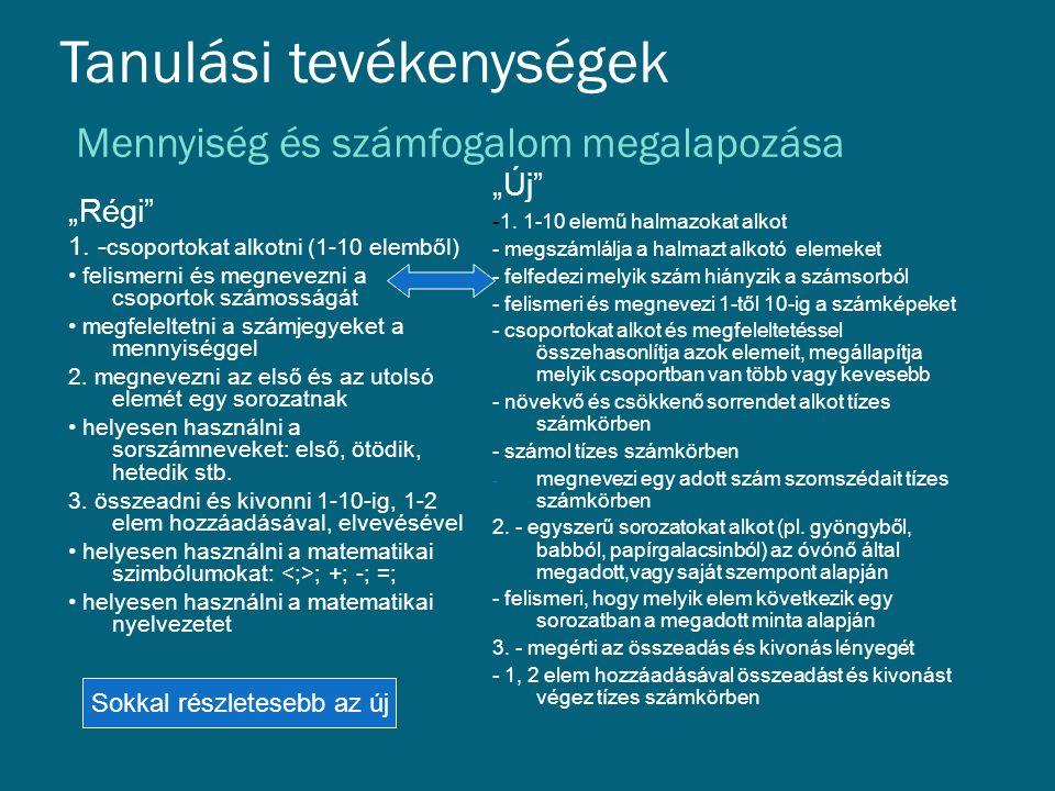 """Tanulási tevékenységek Mennyiség és számfogalom megalapozása """"Régi"""" 1. - csoportokat alkotni (1-10 elemből) • felismerni és megnevezni a csoportok szá"""