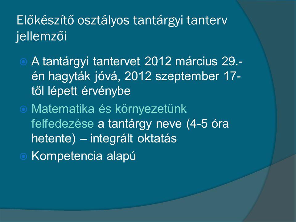 Előkészítő osztályos tantárgyi tanterv jellemzői  A tantárgyi tantervet 2012 március 29.- én hagyták jóvá, 2012 szeptember 17- től lépett érvénybe 