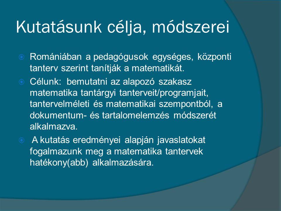Kutatásunk célja, módszerei  Romániában a pedagógusok egységes, központi tanterv szerint tanítják a matematikát.  Célunk: bemutatni az alapozó szaka