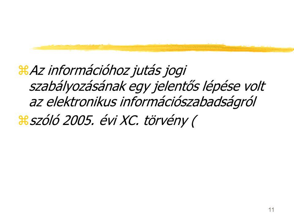 zAz információhoz jutás jogi szabályozásának egy jelentős lépése volt az elektronikus információszabadságról zszóló 2005.