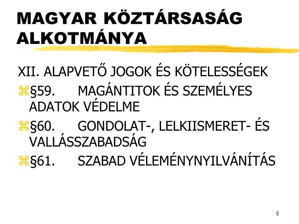 6 MAGYAR KÖZTÁRSASÁG ALKOTMÁNYA XII.