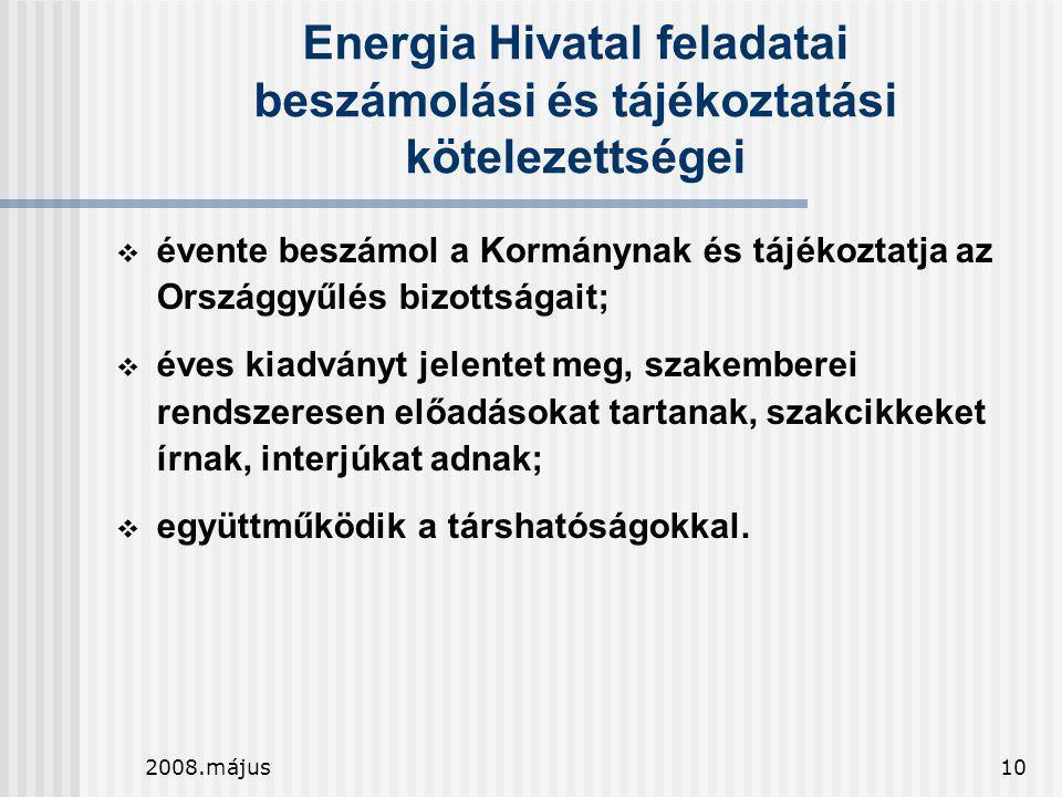 2008.május10 Energia Hivatal feladatai beszámolási és tájékoztatási kötelezettségei  évente beszámol a Kormánynak és tájékoztatja az Országgyűlés biz