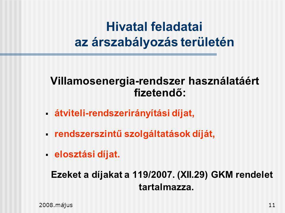 2008.május11 Hivatal feladatai az árszabályozás területén Villamosenergia-rendszer használatáért fizetendő:  átviteli-rendszerirányítási díjat,  ren