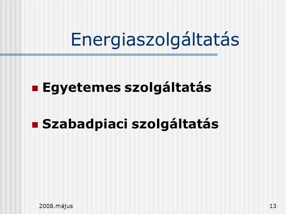 2008.május13 Energiaszolgáltatás  Egyetemes szolgáltatás  Szabadpiaci szolgáltatás
