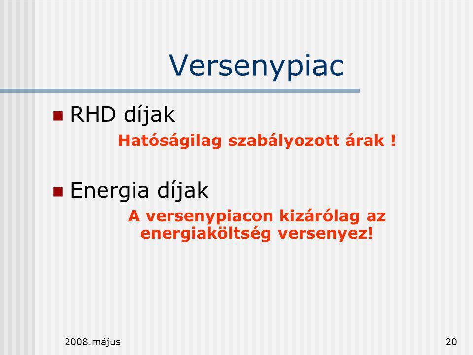 2008.május20 Versenypiac  RHD díjak Hatóságilag szabályozott árak !  Energia díjak A versenypiacon kizárólag az energiaköltség versenyez!