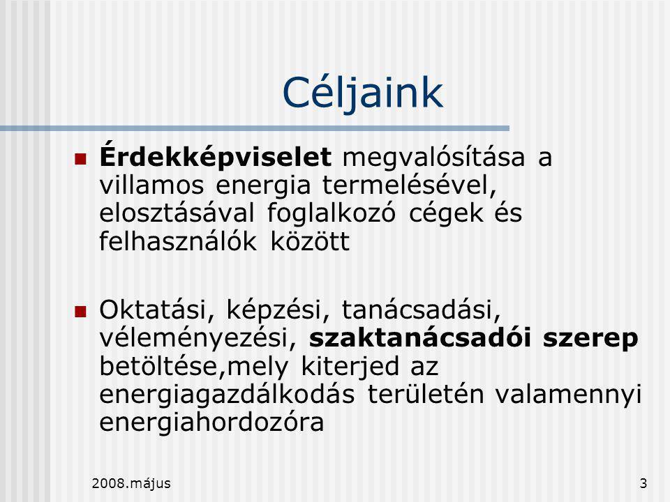 2008.május3 Céljaink  Érdekképviselet megvalósítása a villamos energia termelésével, elosztásával foglalkozó cégek és felhasználók között  Oktatási,