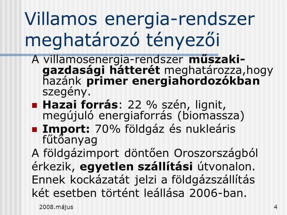 2008.május4 Villamos energia-rendszer meghatározó tényezői A villamosenergia-rendszer műszaki- gazdasági hátterét meghatározza,hogy hazánk primer ener