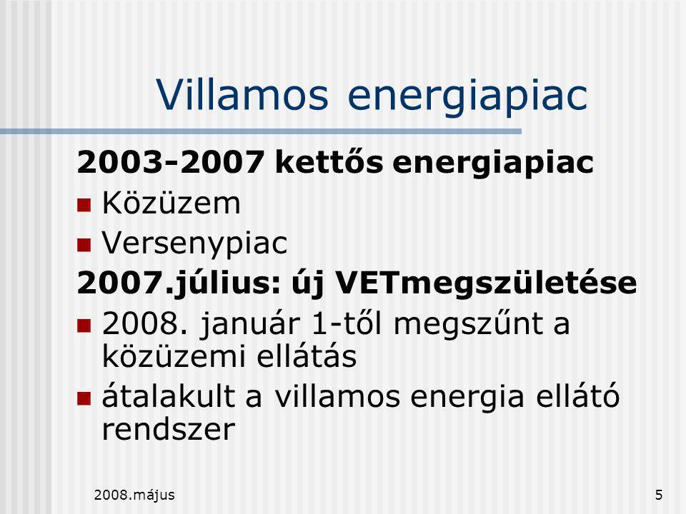 2008.május5 Villamos energiapiac 2003-2007 kettős energiapiac  Közüzem  Versenypiac 2007.július: új VETmegszületése  2008. január 1-től megszűnt a