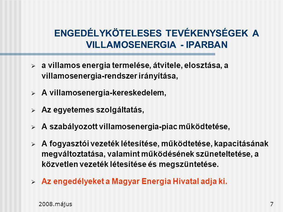 2008.május7 ENGEDÉLYKÖTELESES TEVÉKENYSÉGEK A VILLAMOSENERGIA - IPARBAN  a villamos energia termelése, átvitele, elosztása, a villamosenergia-rendsze