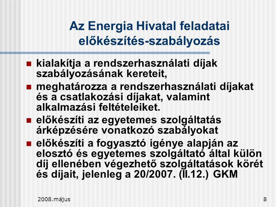 2008.május8 Az Energia Hivatal feladatai előkészítés-szabályozás  kialakítja a rendszerhasználati díjak szabályozásának kereteit,  meghatározza a re