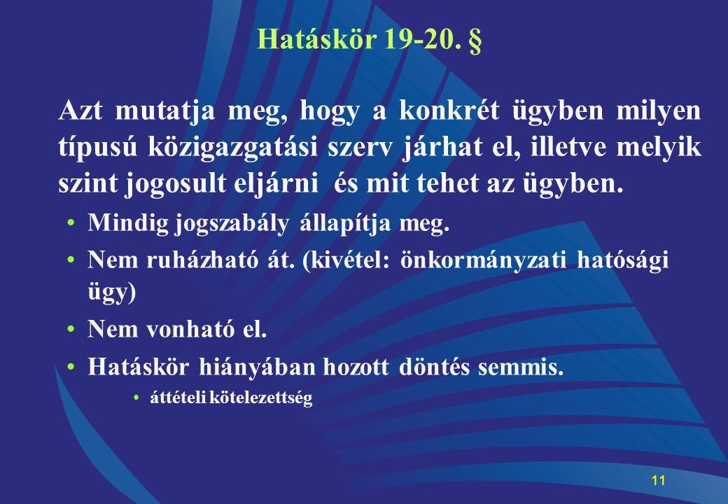 11 Hatáskör 19-20. § Azt mutatja meg, hogy a konkrét ügyben milyen típusú közigazgatási szerv járhat el, illetve melyik szint jogosult eljárni és mit