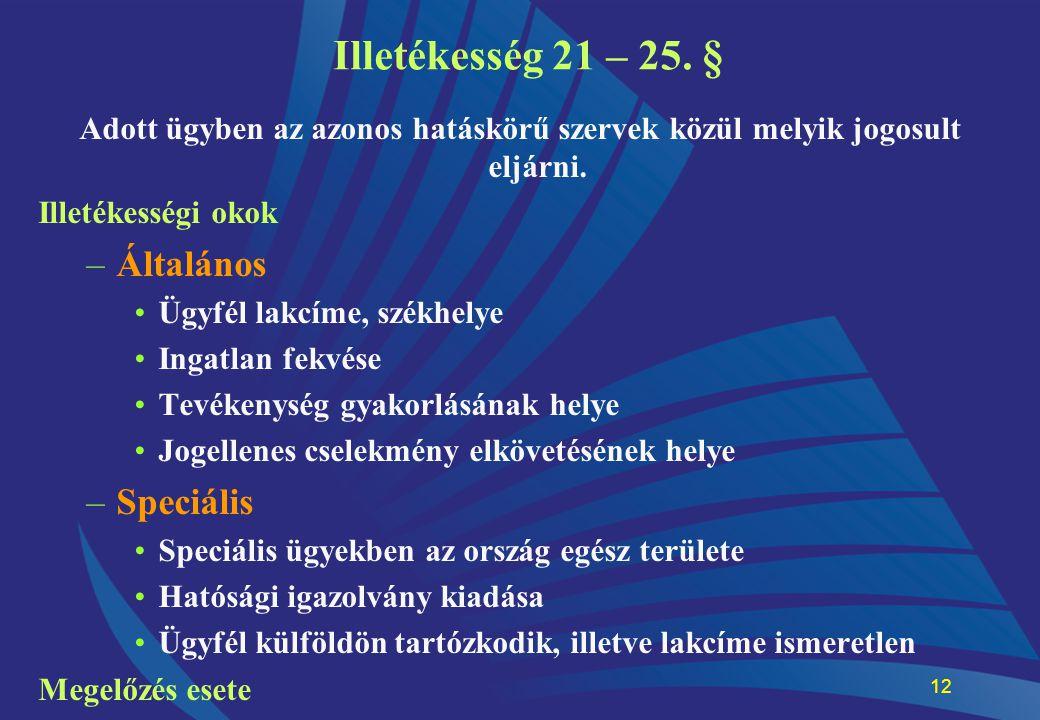 12 Illetékesség 21 – 25. § Adott ügyben az azonos hatáskörű szervek közül melyik jogosult eljárni. Illetékességi okok –Általános •Ügyfél lakcíme, szék