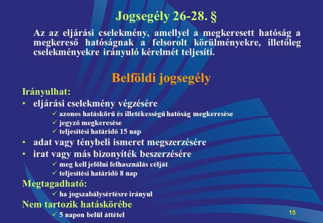 15 Jogsegély 26-28. § Az az eljárási cselekmény, amellyel a megkeresett hatóság a megkereső hatóságnak a felsorolt körülményekre, illetőleg cselekmény