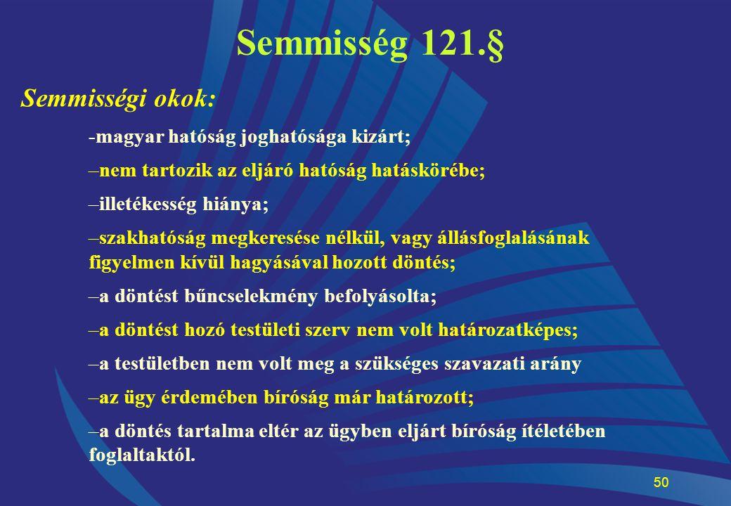 50 Semmisség 121.§ Semmisségi okok: -magyar hatóság joghatósága kizárt; –nem tartozik az eljáró hatóság hatáskörébe; –illetékesség hiánya; –szakhatósá
