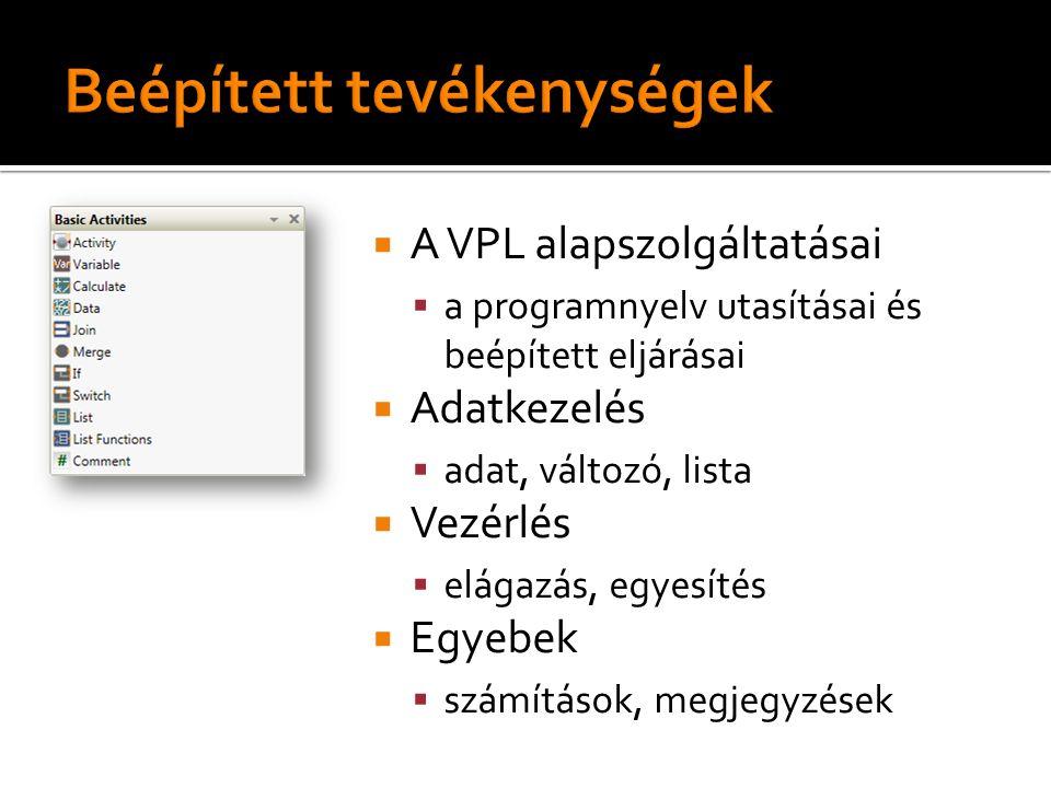  A VPL alapszolgáltatásai  a programnyelv utasításai és beépített eljárásai  Adatkezelés  adat, változó, lista  Vezérlés  elágazás, egyesítés  Egyebek  számítások, megjegyzések