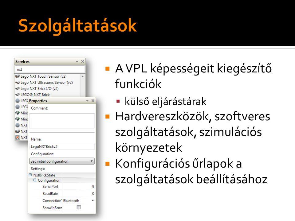  A VPL képességeit kiegészítő funkciók  külső eljárástárak  Hardvereszközök, szoftveres szolgáltatások, szimulációs környezetek  Konfigurációs űrlapok a szolgáltatások beállításához