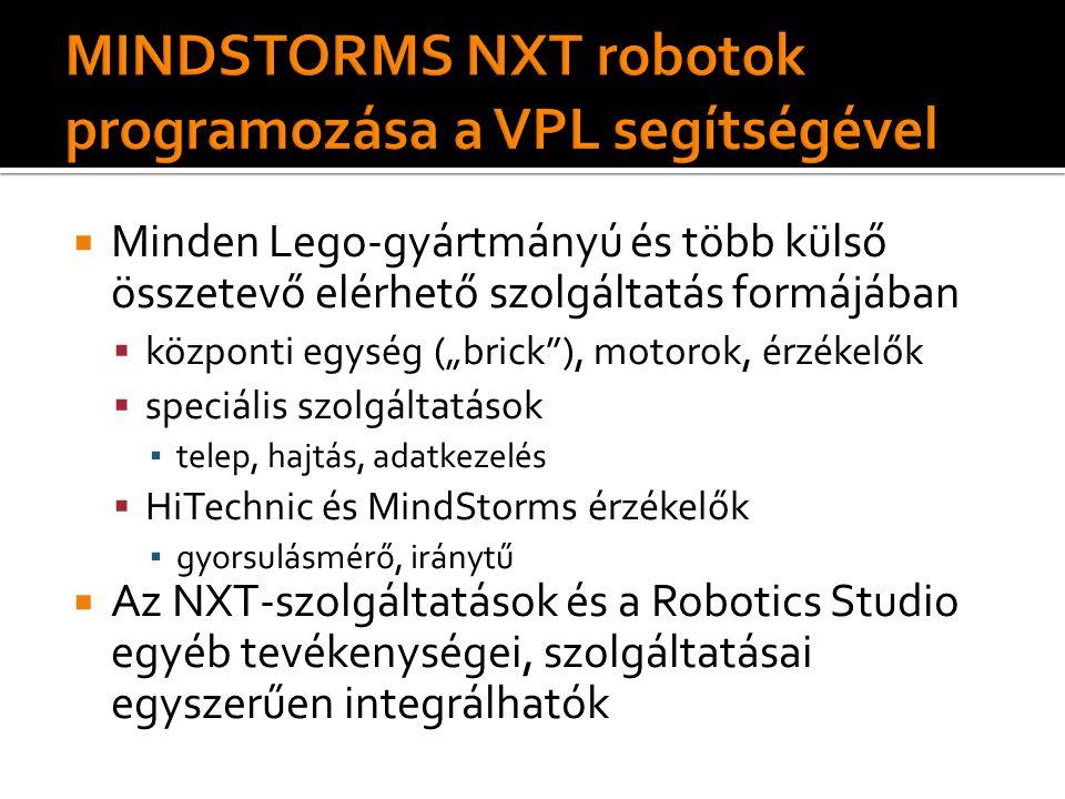 """ Minden Lego-gyártmányú és több külső összetevő elérhető szolgáltatás formájában  központi egység (""""brick ), motorok, érzékelők  speciális szolgáltatások ▪ telep, hajtás, adatkezelés  HiTechnic és MindStorms érzékelők ▪ gyorsulásmérő, iránytű  Az NXT-szolgáltatások és a Robotics Studio egyéb tevékenységei, szolgáltatásai egyszerűen integrálhatók"""
