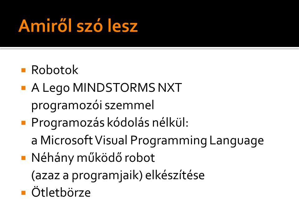  Robotok  A Lego MINDSTORMS NXT programozói szemmel  Programozás kódolás nélkül: a Microsoft Visual Programming Language  Néhány működő robot (azaz a programjaik) elkészítése  Ötletbörze
