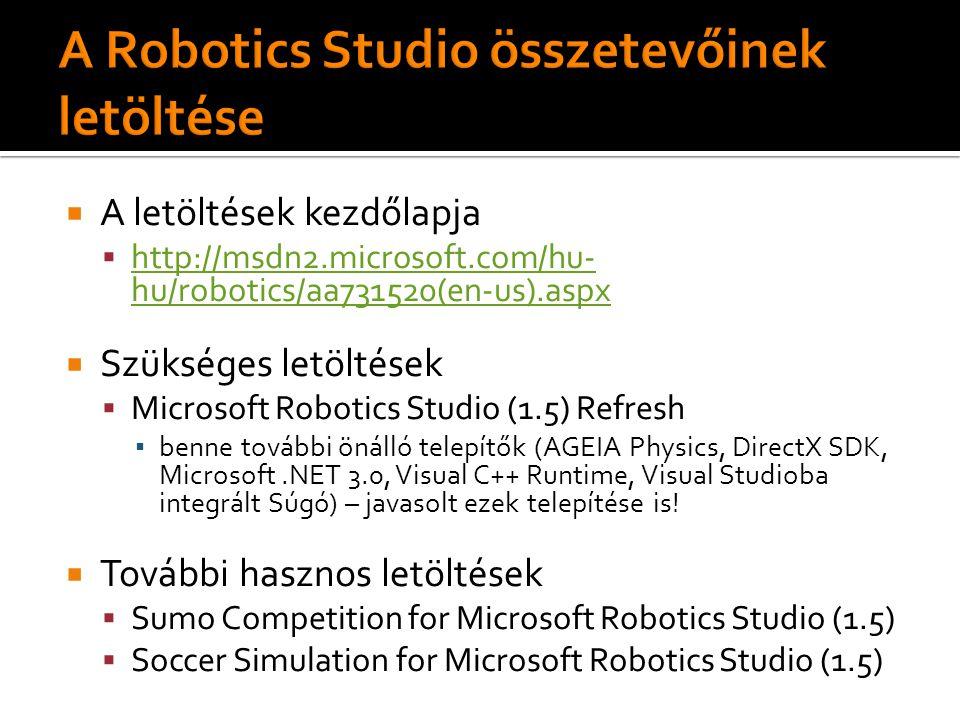 A letöltések kezdőlapja  http://msdn2.microsoft.com/hu- hu/robotics/aa731520(en-us).aspx http://msdn2.microsoft.com/hu- hu/robotics/aa731520(en-us).aspx  Szükséges letöltések  Microsoft Robotics Studio (1.5) Refresh ▪ benne további önálló telepítők (AGEIA Physics, DirectX SDK, Microsoft.NET 3.0, Visual C++ Runtime, Visual Studioba integrált Súgó) – javasolt ezek telepítése is.