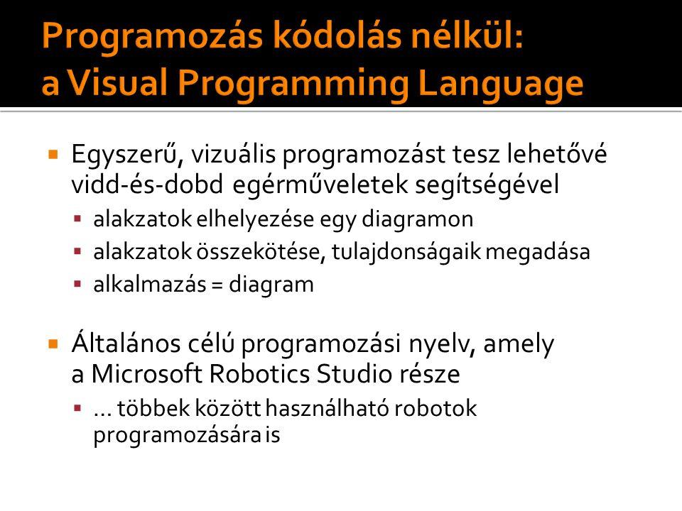  Egyszerű, vizuális programozást tesz lehetővé vidd-és-dobd egérműveletek segítségével  alakzatok elhelyezése egy diagramon  alakzatok összekötése, tulajdonságaik megadása  alkalmazás = diagram  Általános célú programozási nyelv, amely a Microsoft Robotics Studio része  … többek között használható robotok programozására is