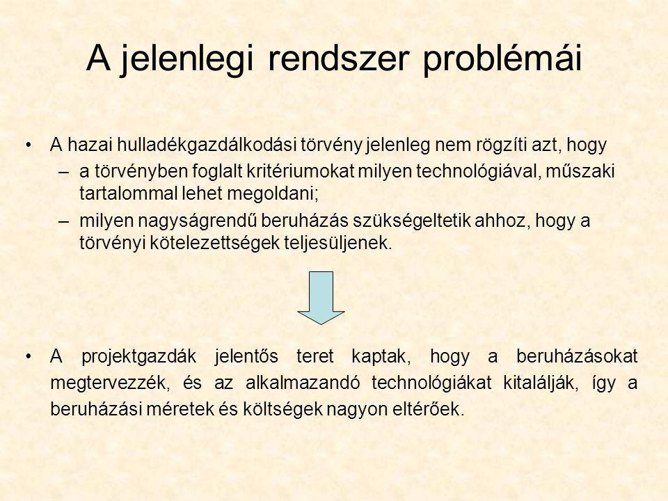 A jelenlegi rendszer problémái •A hazai hulladékgazdálkodási törvény jelenleg nem rögzíti azt, hogy –a törvényben foglalt kritériumokat milyen technol