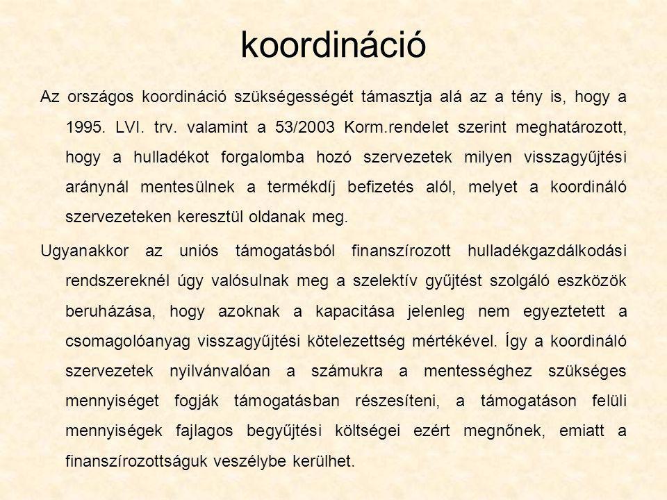 koordináció Az országos koordináció szükségességét támasztja alá az a tény is, hogy a 1995. LVI. trv. valamint a 53/2003 Korm.rendelet szerint meghatá