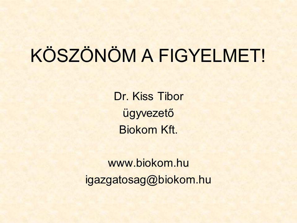 KÖSZÖNÖM A FIGYELMET! Dr. Kiss Tibor ügyvezető Biokom Kft. www.biokom.hu igazgatosag@biokom.hu