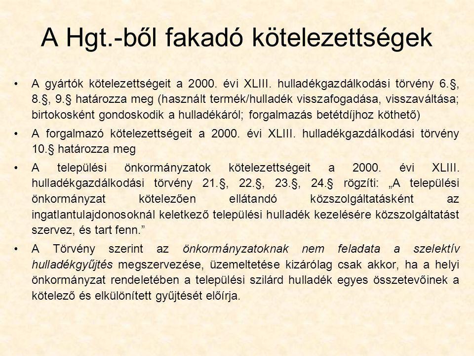 A Hgt.-ből fakadó kötelezettségek •A gyártók kötelezettségeit a 2000. évi XLIII. hulladékgazdálkodási törvény 6.§, 8.§, 9.§ határozza meg (használt te