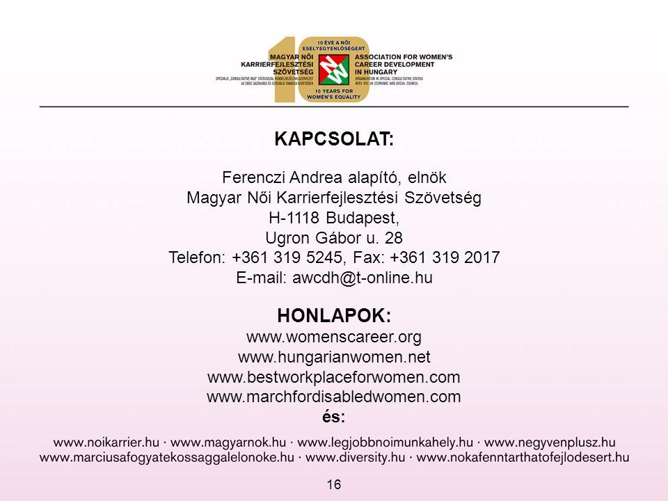 KAPCSOLAT: Ferenczi Andrea alapító, elnök Magyar Női Karrierfejlesztési Szövetség H-1118 Budapest, Ugron Gábor u. 28 Telefon: +361 319 5245, Fax: +361