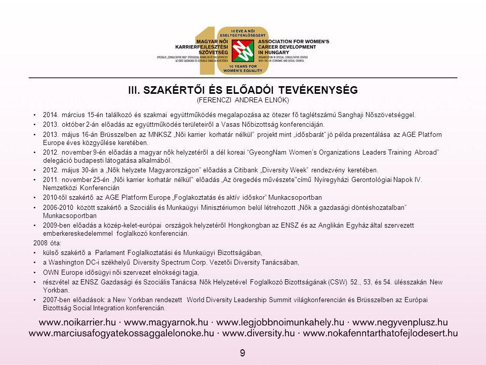 III. SZAKÉRTŐI ÉS ELŐADÓI TEVÉKENYSÉG (FERENCZI ANDREA ELNÖK) •2014. március 15-én találkozó és szakmai együttműködés megalapozása az ötezer fő taglét