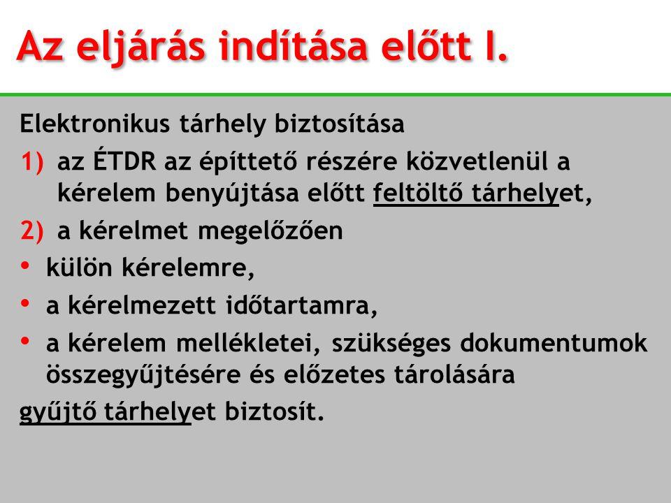 Az eljárás indítása előtt I. Elektronikus tárhely biztosítása 1)az ÉTDR az építtető részére közvetlenül a kérelem benyújtása előtt feltöltő tárhelyet,