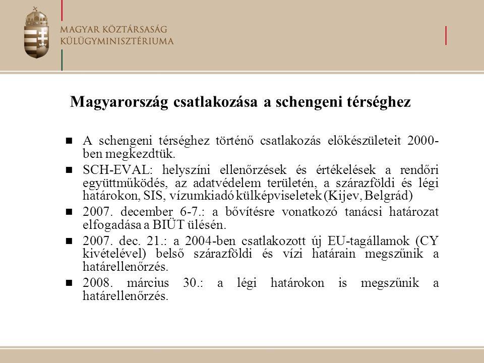  A schengeni térséghez történő csatlakozás előkészületeit 2000- ben megkezdtük.  SCH-EVAL: helyszíni ellenőrzések és értékelések a rendőri együttműk