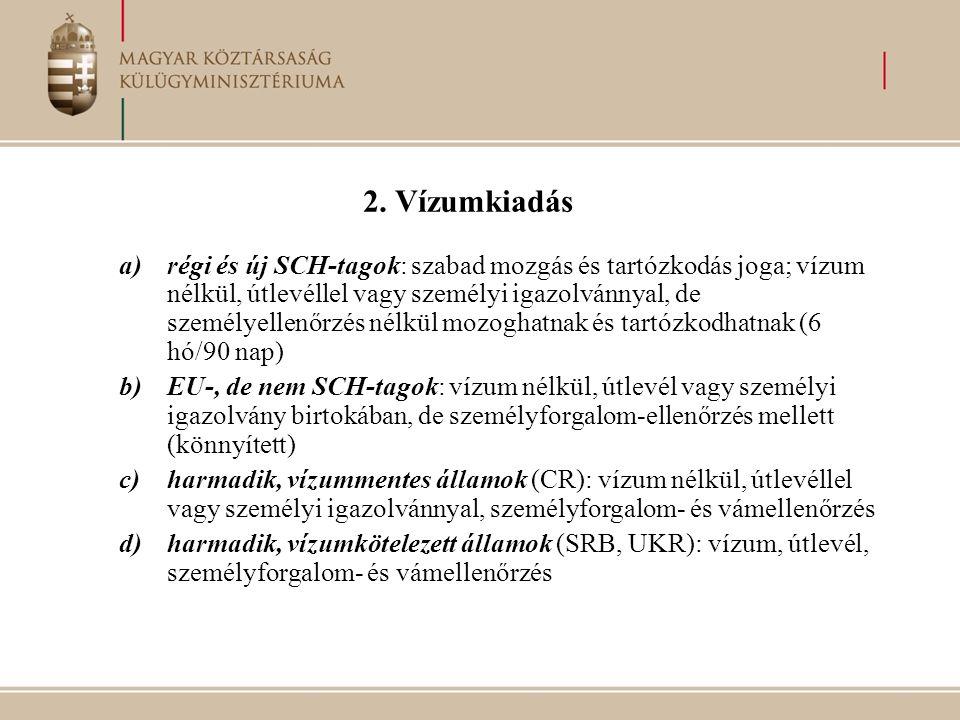 2. Vízumkiadás a)régi és új SCH-tagok: szabad mozgás és tartózkodás joga; vízum nélkül, útlevéllel vagy személyi igazolvánnyal, de személyellenőrzés n