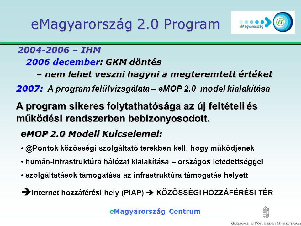 eMagyarország Centrum 2004-2006 – IHM 2006 december: GKM döntés – nem lehet veszni hagyni a megteremtett értéket 2004-2006 – IHM 2006 december: GKM döntés – nem lehet veszni hagyni a megteremtett értéket eMagyarország 2.0 Program 2007: 2007: A program felülvizsgálata – eMOP 2.0 model kialakítása A program sikeres folytathatósága az új feltételi és működési rendszerben bebizonyosodott.