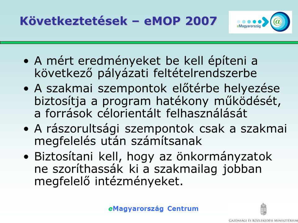 eMagyarország Centrum Következtetések – eMOP 2007 •A mért eredményeket be kell építeni a következő pályázati feltételrendszerbe •A szakmai szempontok előtérbe helyezése biztosítja a program hatékony működését, a források célorientált felhasználását •A rászorultsági szempontok csak a szakmai megfelelés után számítsanak •Biztosítani kell, hogy az önkormányzatok ne szoríthassák ki a szakmailag jobban megfelelő intézményeket.