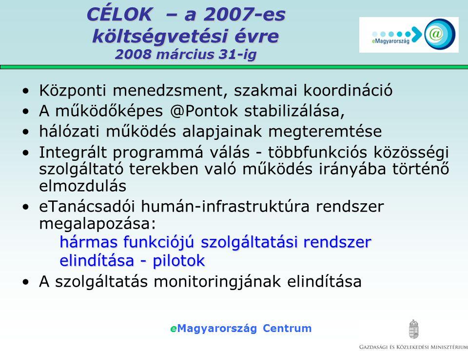 eMagyarország Centrum CÉLOK – a 2007-es költségvetési évre 2008 március 31-ig •Központi menedzsment, szakmai koordináció •A működőképes @Pontok stabilizálása, •hálózati működés alapjainak megteremtése •Integrált programmá válás - többfunkciós közösségi szolgáltató terekben való működés irányába történő elmozdulás •eTanácsadói humán-infrastruktúra rendszer megalapozása: hármas funkciójú szolgáltatási rendszer elindítása - pilotok •A szolgáltatás monitoringjának elindítása