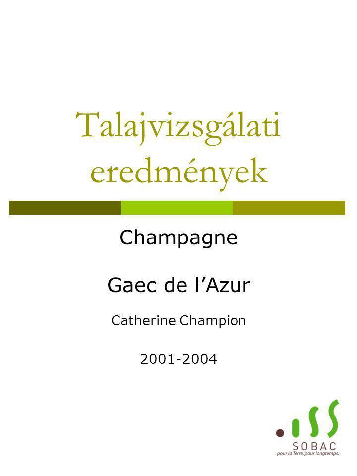 Talajvizsgálati eredmények Champagne Gaec de l'Azur Catherine Champion 2001-2004