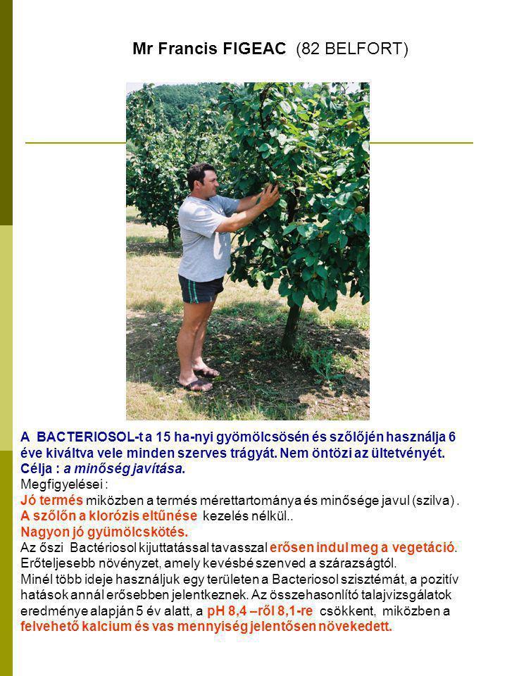 A BACTERIOSOL-t a 15 ha-nyi gyömölcsösén és szőlőjén használja 6 éve kiváltva vele minden szerves trágyát.