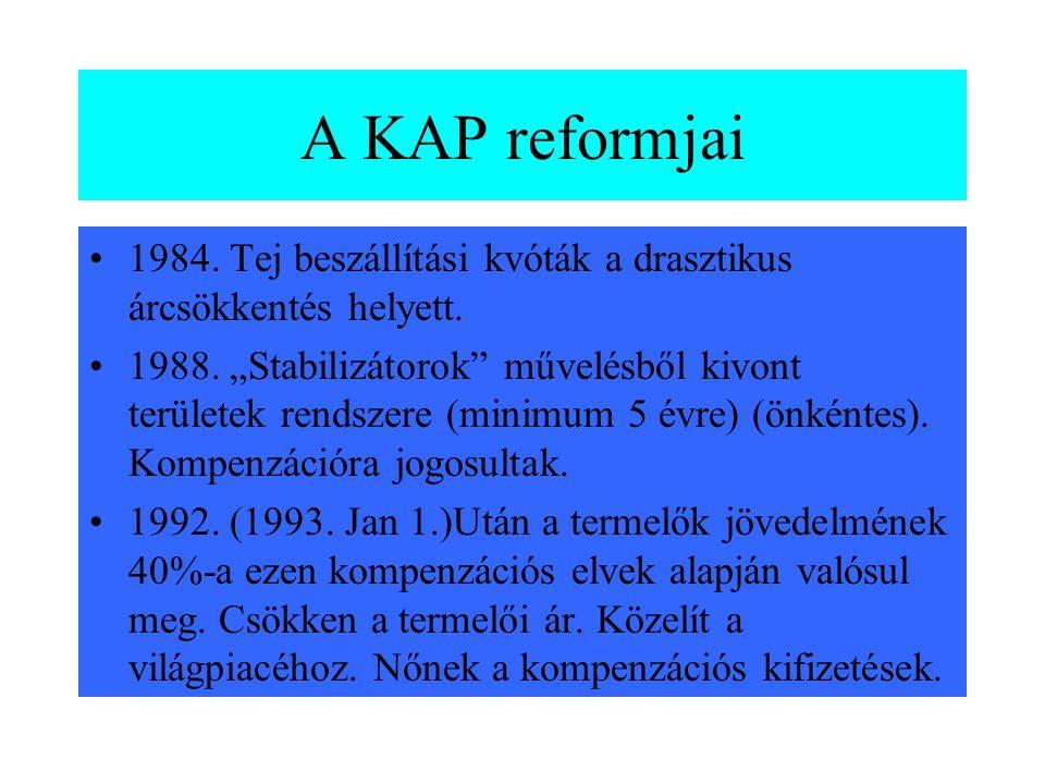 A szabályozás hatásai •Túltermelés •A világpiaci árnál magasabb árak •Piaci egyensúly •Készletek felhalmozódtak Következmény: reformok