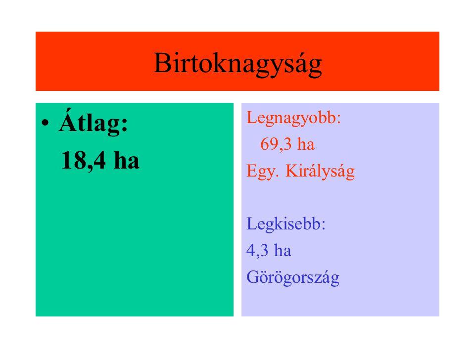 Az EU gazdasága Mg. Terület: 130 millió ha (a teljes terület 550%-a) Gazdaságok száma: 7 millió