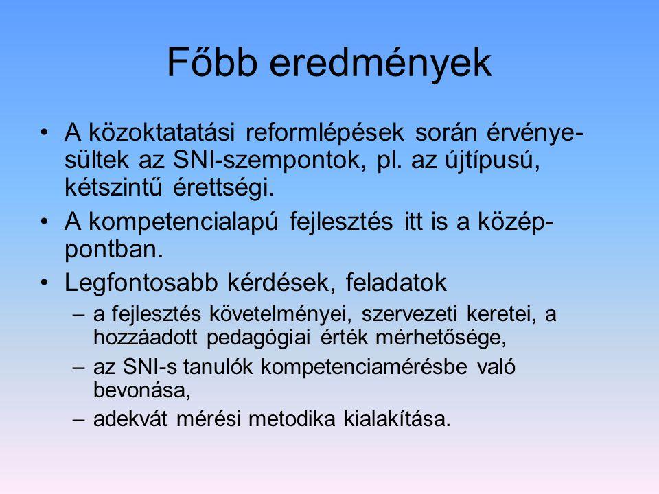 Főbb eredmények •A közoktatatási reformlépések során érvénye- sültek az SNI-szempontok, pl.