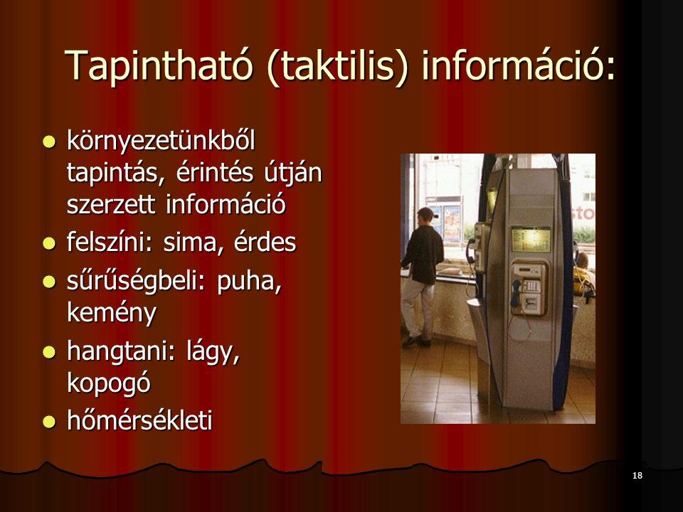 18 Tapintható (taktilis) információ:  környezetünkből tapintás, érintés útján szerzett információ  felszíni: sima, érdes  sűrűségbeli: puha, kemény