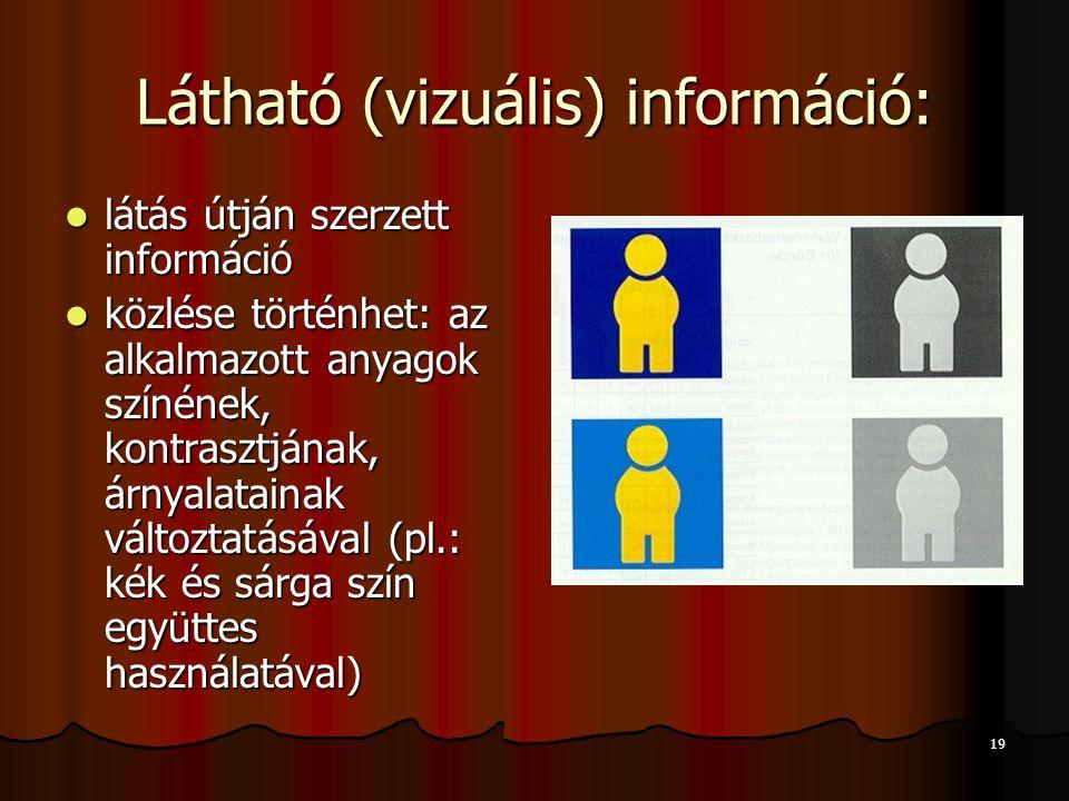 19 Látható (vizuális) információ:  látás útján szerzett információ  közlése történhet: az alkalmazott anyagok színének, kontrasztjának, árnyalataina